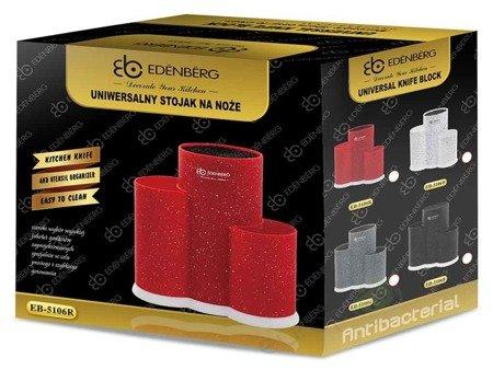 Blok do noży Edenberg EB 5106 stojak na akcesoria kuchenne kolor czerwony marmur