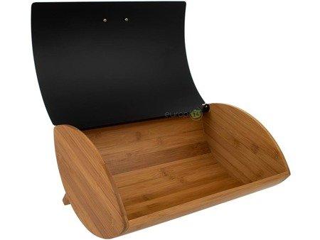 Chlebak KonigHoffer Cosmic drewniany pojemnik na pieczywo stalowa pokrywa w zestawie z pojemnikami kolor czarny