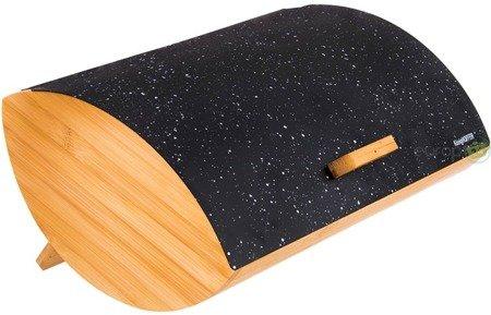 Chlebak drewniany Tadar Cosmic pojemnik na pieczywo stalowa pokrywa czarny marmur