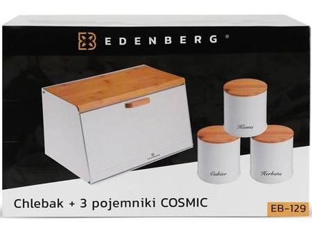 Chlebak metalowy Edenberg EB 129 pojemnik na pieczywo drewniana pokrywa w zestawie z pojemnikami