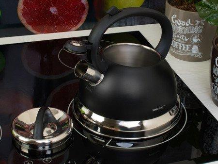 Czajnik KingHoff KH 1224 stalowy indukcyjny z gwizdkiem 2.2 litra czarny