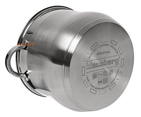 Garnek stalowy z pokrywką Klausberg KB 7165 Indukcyjny 13 L