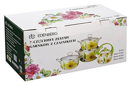 Garnki Edenberg EB 1840 Komplet garnków emaliowanych indukcyjnych + czajnik
