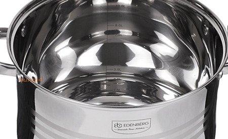 Garnki Edenberg EB 517 zestaw 3 dużych garnków stalowych
