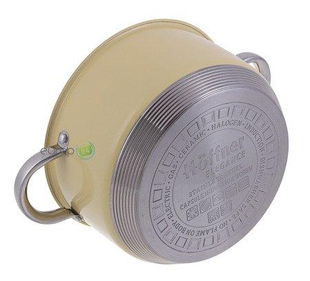 Garnki Hoffner ELEGANCE HF 9999 Zestaw garnków indukcyjnych kremowych