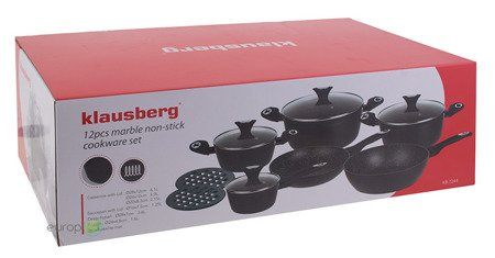 Garnki Klausberg KB 7244 zestaw garnków marmurowych indukcyjnych + noże 9800