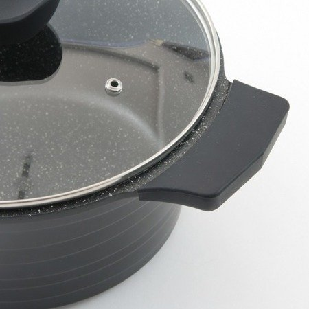 Garnki granitowe Klausberg KB 7356 Zestaw garnków indukcyjnych Fresco szare+noże BH 2111