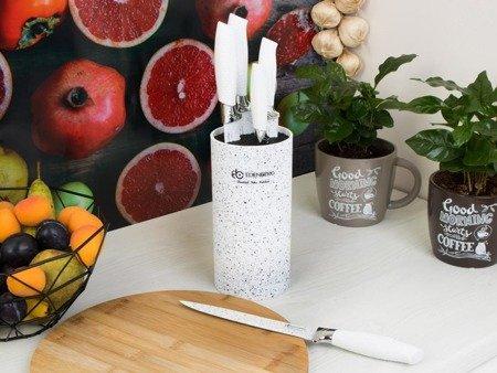 Noże Edenberg EB 5103W kuchenne stalowe w stojaku BIAŁY MARMUR zestaw 5 szt + blok