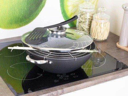 Patelnia żeliwna wok Kamille 4815MR 26cm z pokrywką i sztućcami indukcja gaz