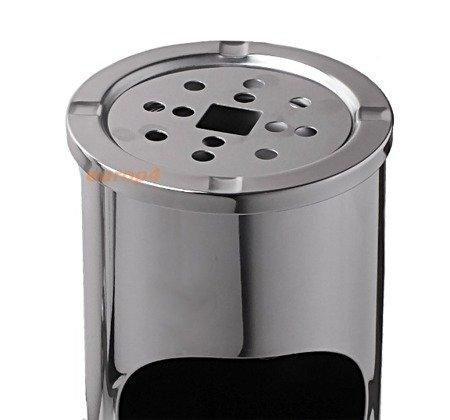 Popielnica EU 001 kosz na śmieci popielniczka stojąca srebrna/czarna