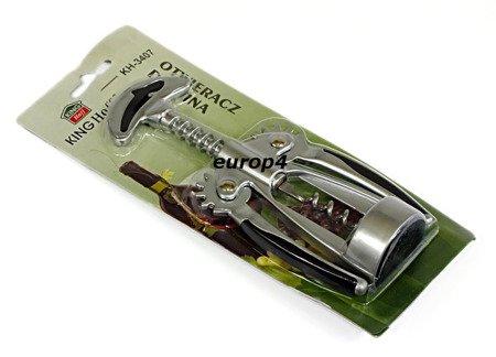 Solidny korkociąg do wina KingHoff KH 3407 otwieracz stalowy satyna