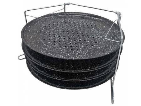 Stojak do piekarnika trzypoziomowy Kinghoff KH 1553  3 Okrągłe blachy marmurkowe o średnicy 32 cm