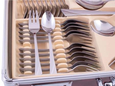 Sztućce w walizce KingHoff EH 3565 72 elementy 12 osób zestaw widelce+łyżki+walizka satyna