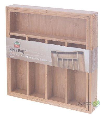 Wkład rozsuwany do szuflady na sztućce King Hoff KH 1218 Bambusowy Organizer