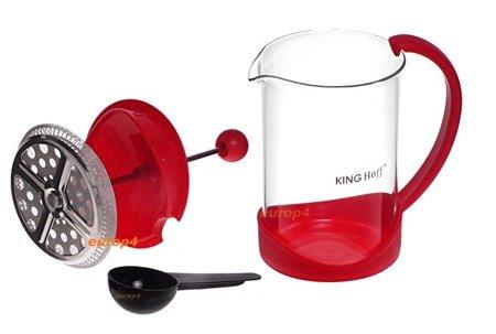 Zaparzacz szklany KingHoff KH 4826 do herbaty ziół kawy dzbanek czerwony