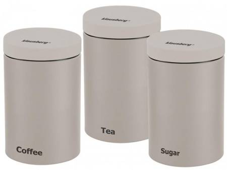 Zestaw 3 pojemników Klausberg KB 7452 do herbaty kawy cukru kremowe